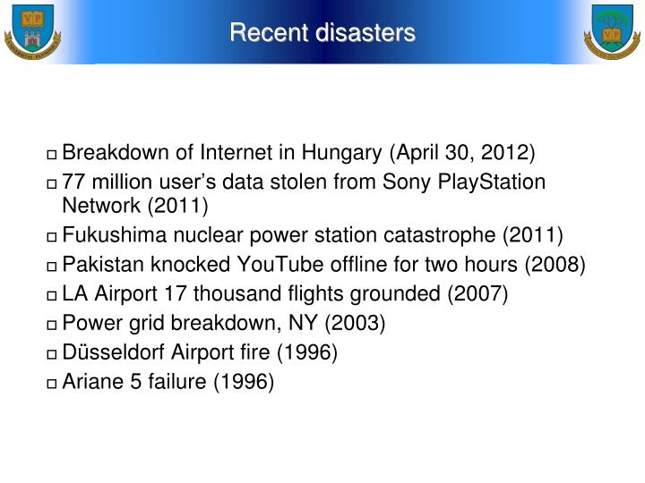 Recent disasters