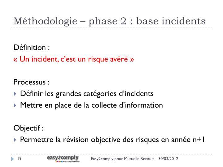 Méthodologie – phase 2 : base incidents