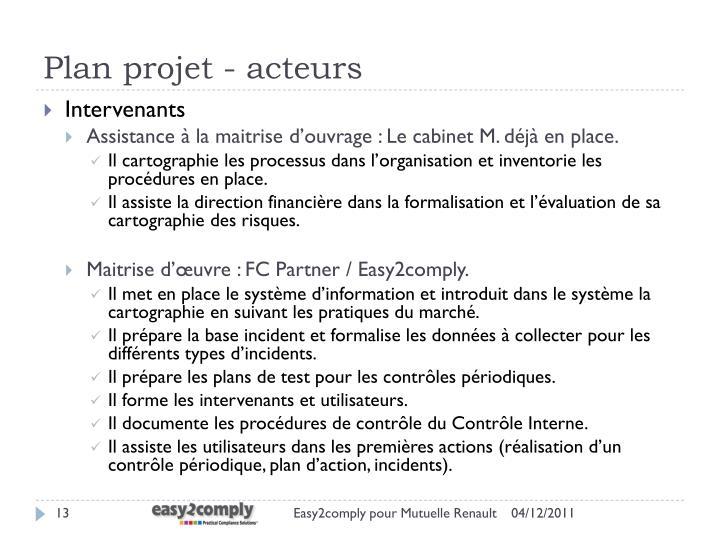 Plan projet - acteurs