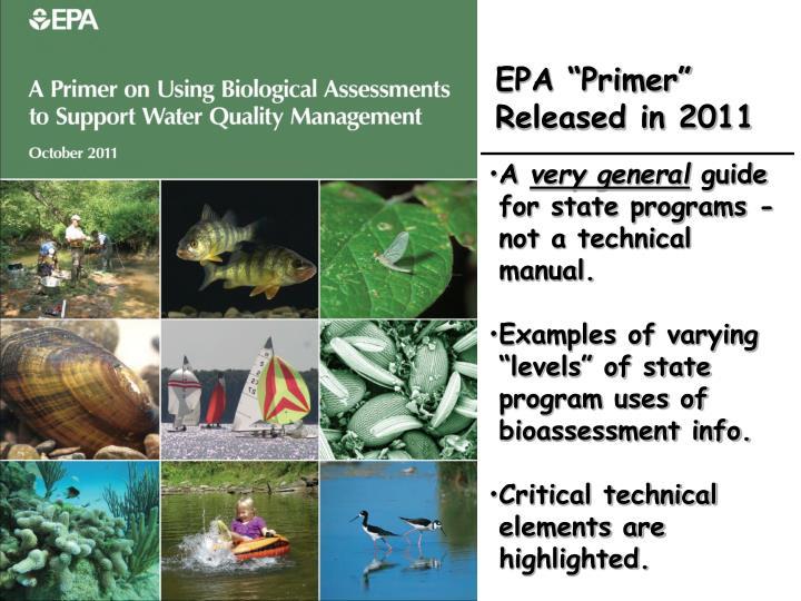 """EPA """"Primer"""" Released in 2011"""