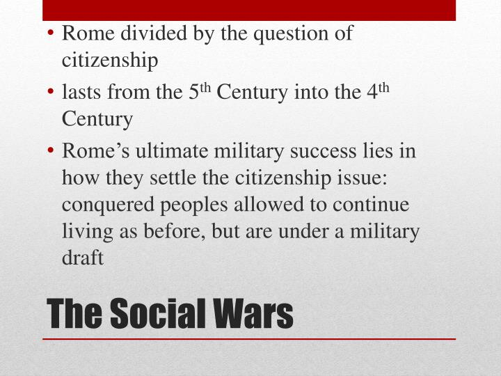 Rome divided by the question of citizenship