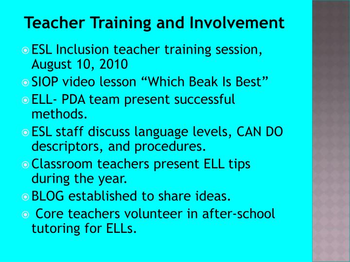 Teacher Training and Involvement