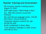 teacher training and involvement