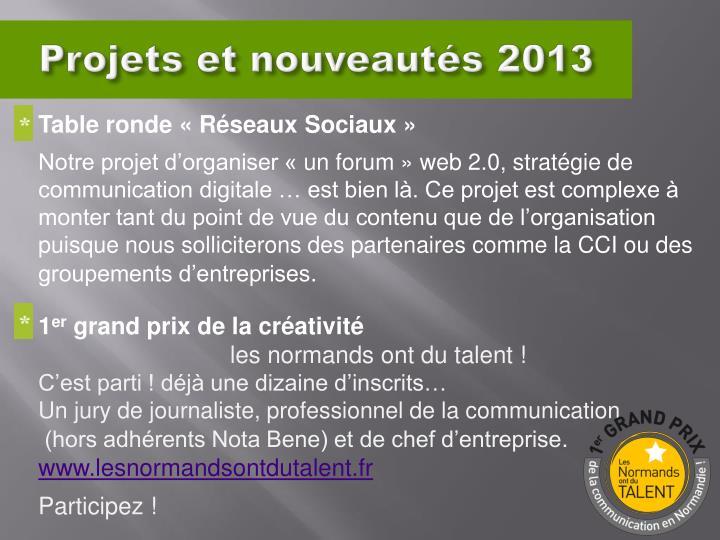 Projets et nouveautés 2013