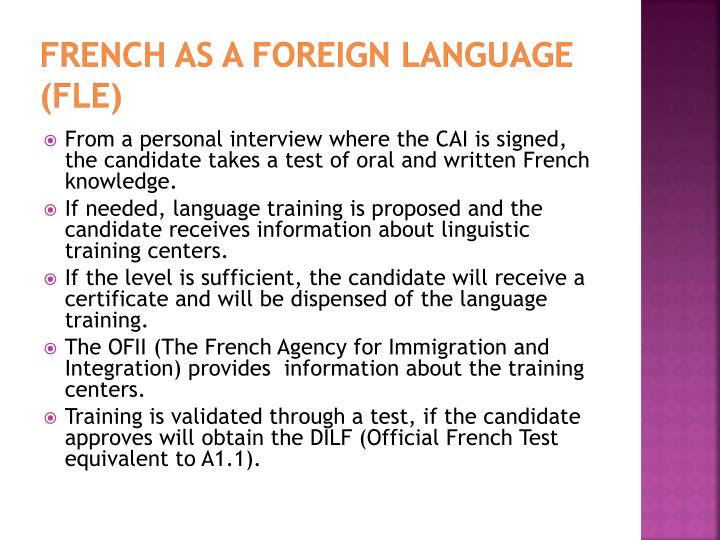 French as a Foreign Language (FLE)