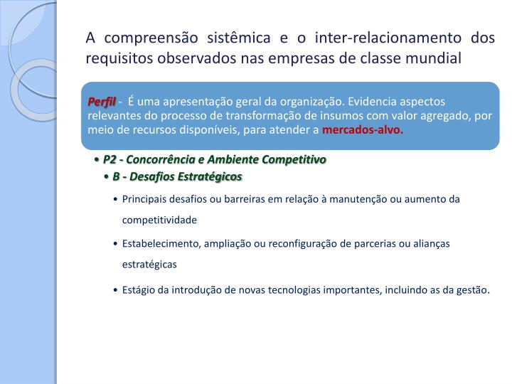A compreensão sistêmica e o inter-relacionamento dos requisitos observados nas empresas de classe mundial