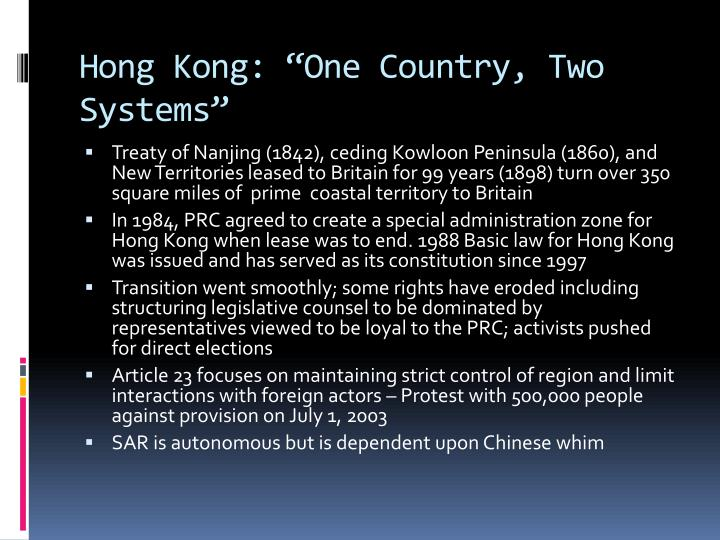 "Hong Kong: ""One Country, Two Systems"""