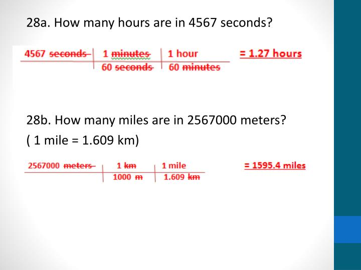28a. How many hours are in 4567 seconds?