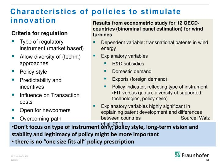 Characteristics of policies to stimulate innovation