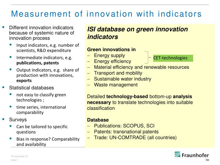 Different innovation indicators because of systemic nature of innovation process