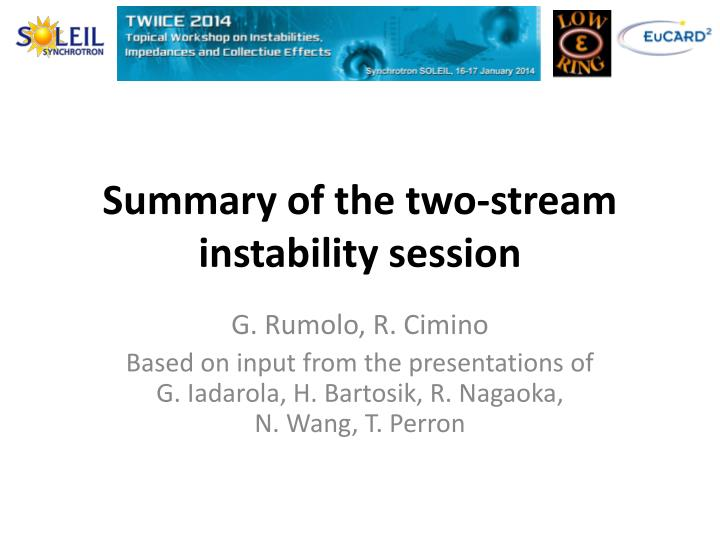 Summary of the two stream instability session