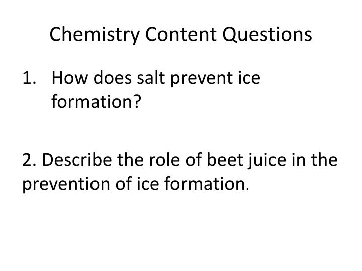 Chemistry Content Questions