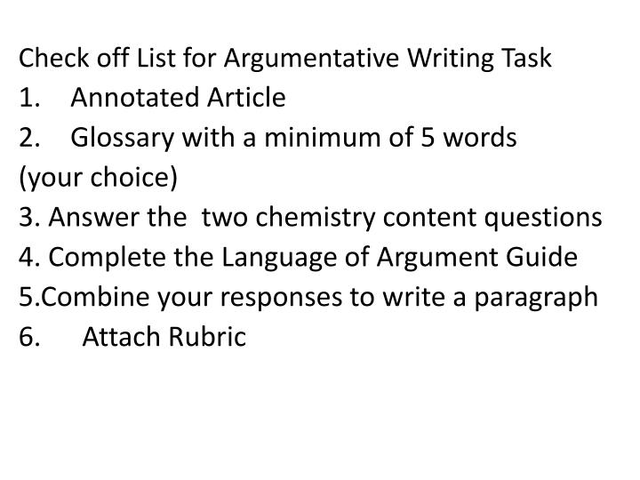 Check off List for Argumentative Writing Task