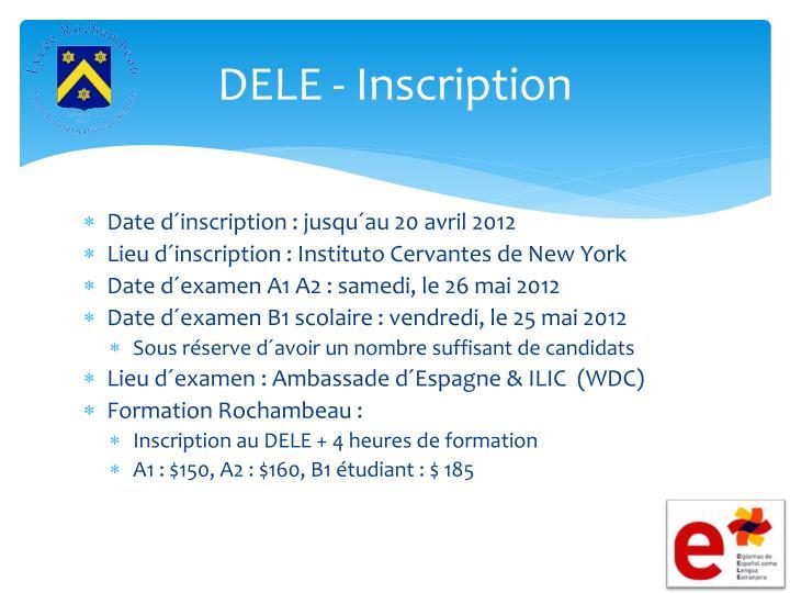 DELE - Inscription