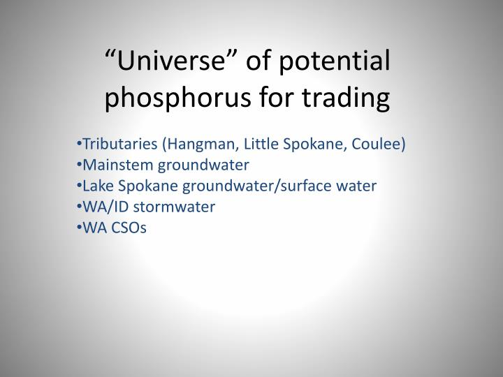 Universe of potential phosphorus for trading