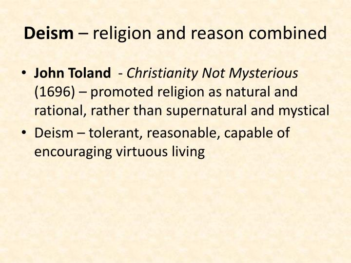 Deism religion and reason combined