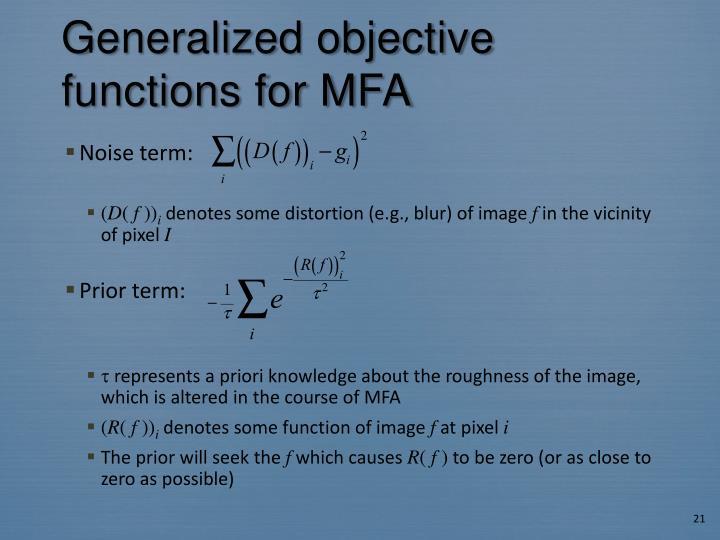 Generalized objective