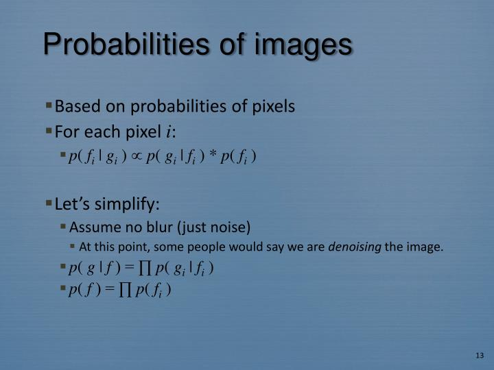 Probabilities of images