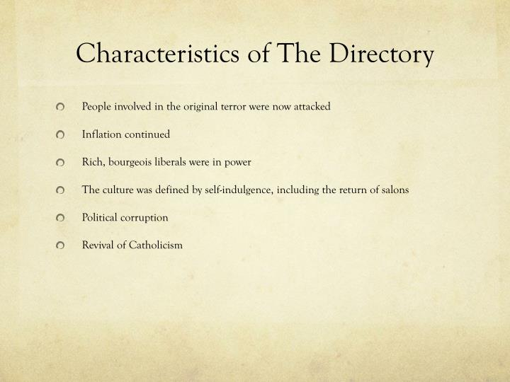 Characteristics of The Directory