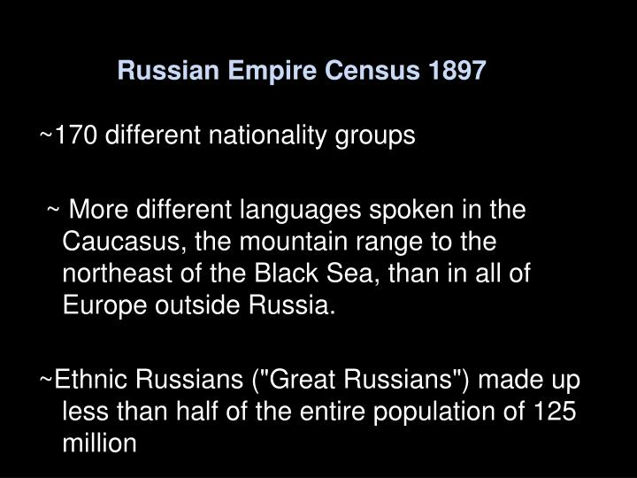 Russian empire census 1897