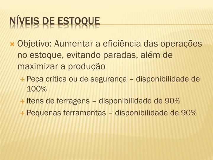 Objetivo: Aumentar a eficiência das operações no estoque, evitando paradas, além de maximizar a produção
