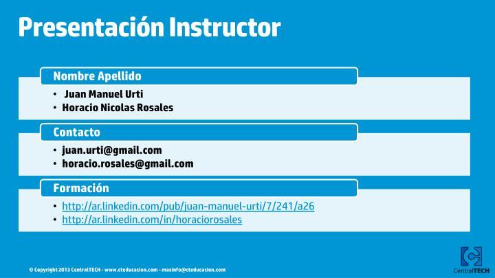 Presentación Instructor