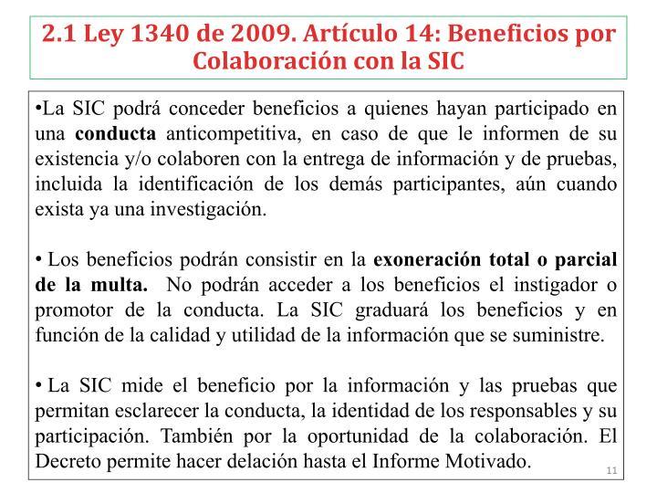 2.1 Ley 1340 de 2009. Artículo 14: Beneficios por Colaboración con la SIC
