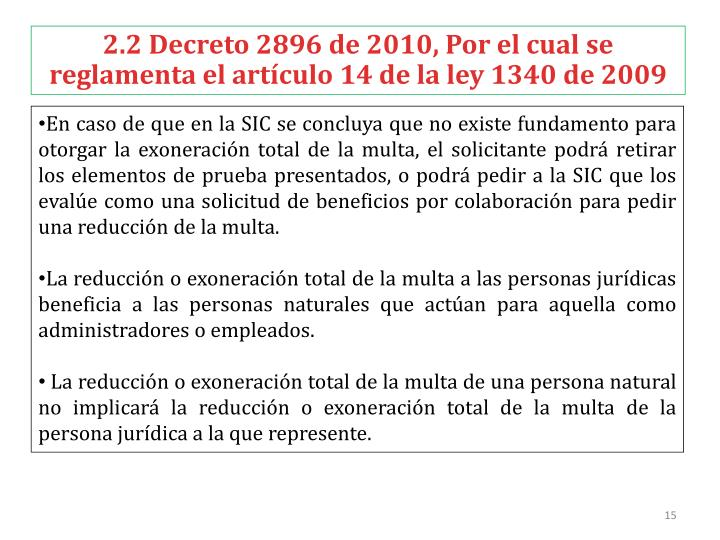 2.2 Decreto 2896 de 2010,