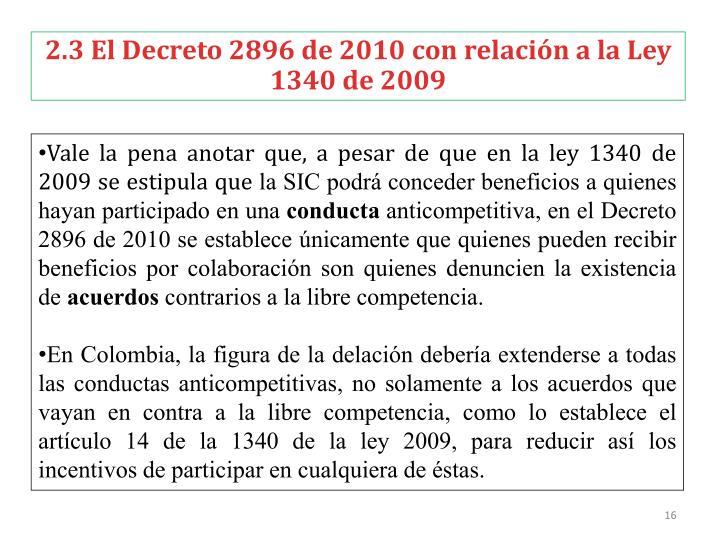 2.3 El Decreto 2896 de 2010