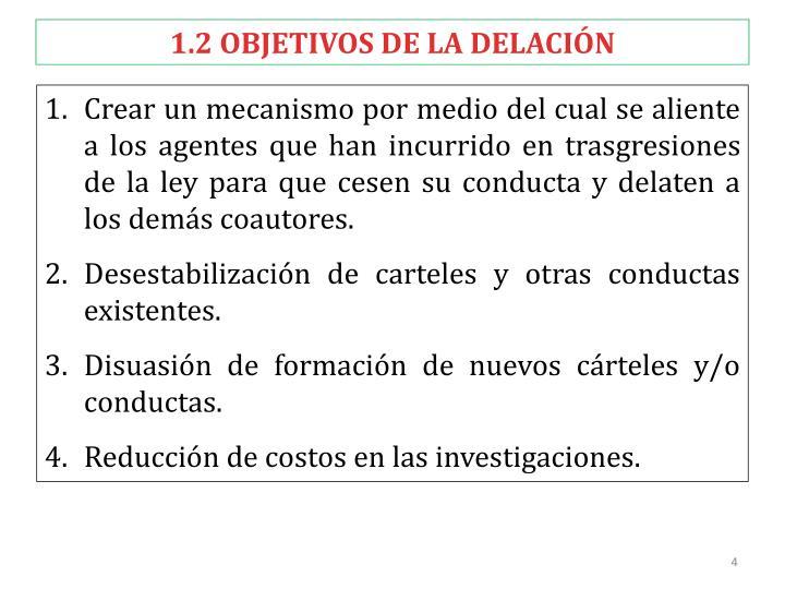 1.2 OBJETIVOS DE LA DELACIÓN