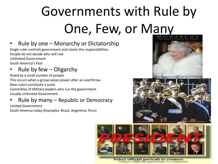 Governments with Rule by One, Few, or Many