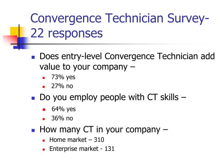 Convergence technician survey 22 responses