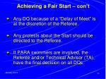 achieving a fair start con t