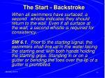 the start backstroke