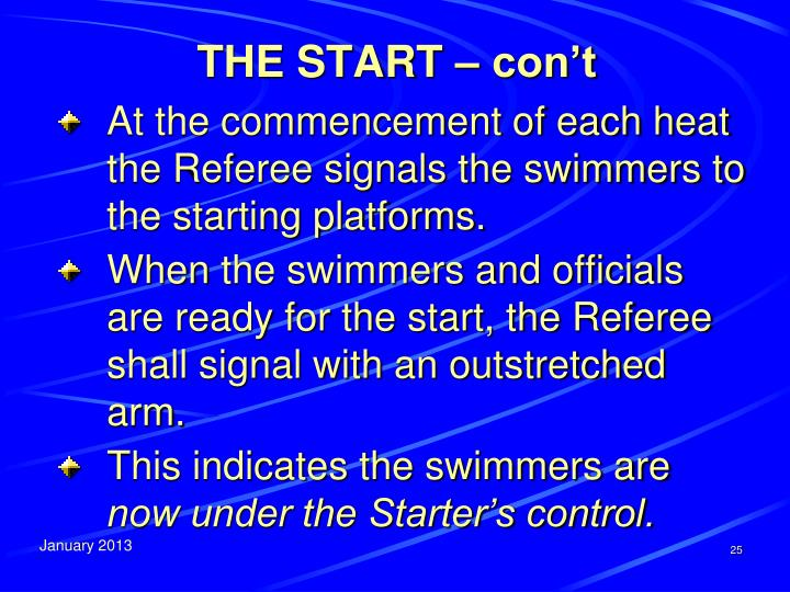 THE START – con't