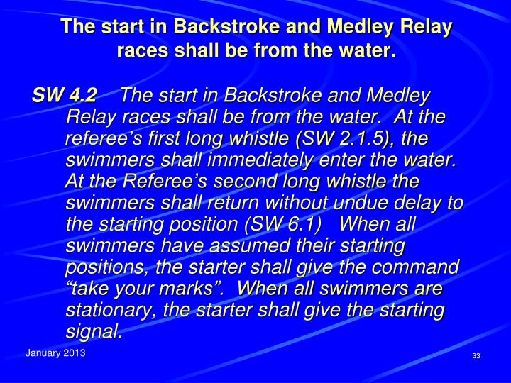 The start in Backstroke and Medley Relay races shall be from the water.