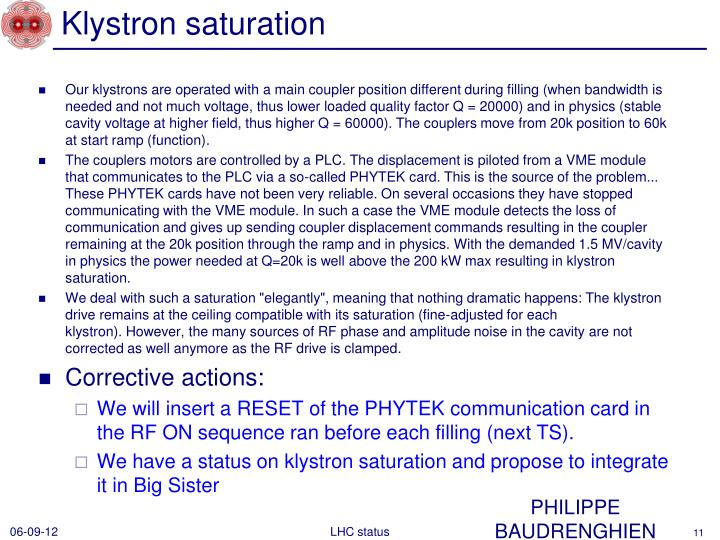 Klystron saturation