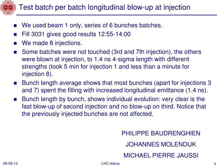 Test batch per batch longitudinal blow-up at injection