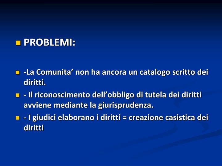 PROBLEMI: