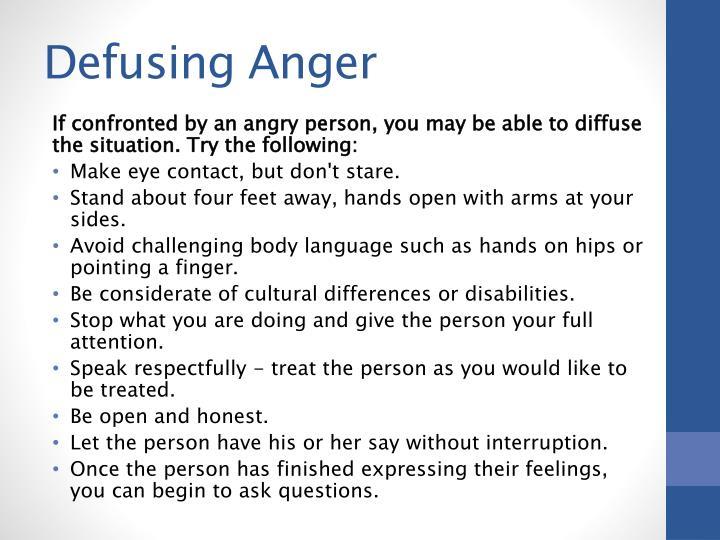 Defusing Anger