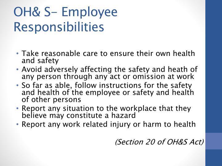 OH& S- Employee Responsibilities