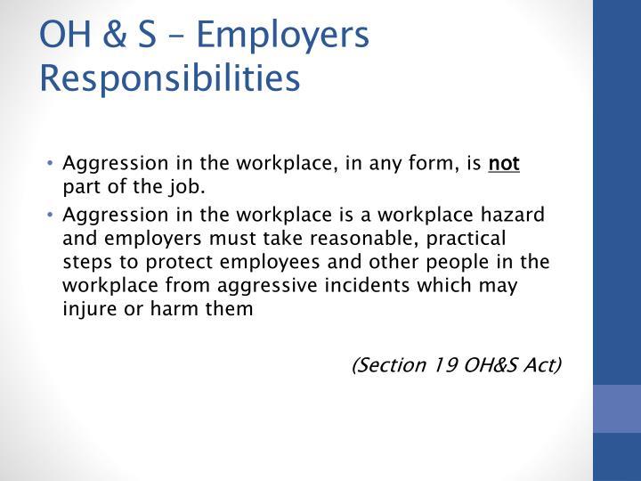 OH & S – Employers Responsibilities