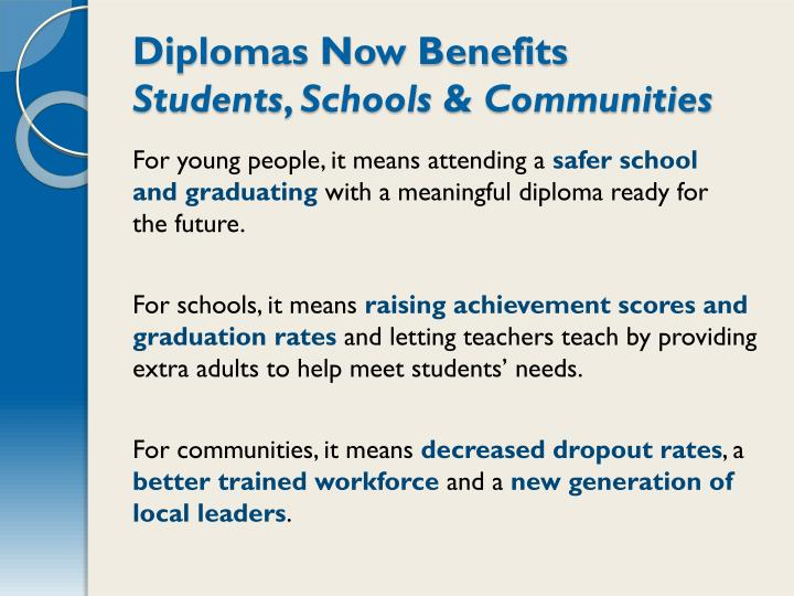Diplomas Now Benefits