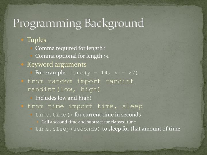 Programming Background