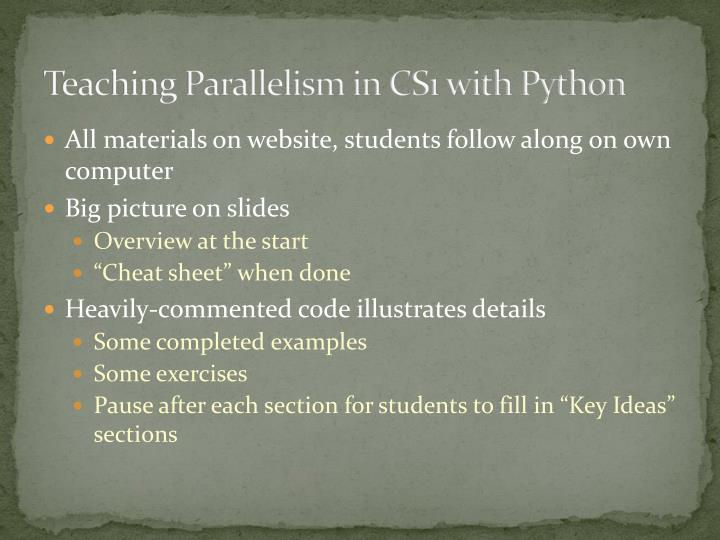 Teaching Parallelism in CS1 with Python