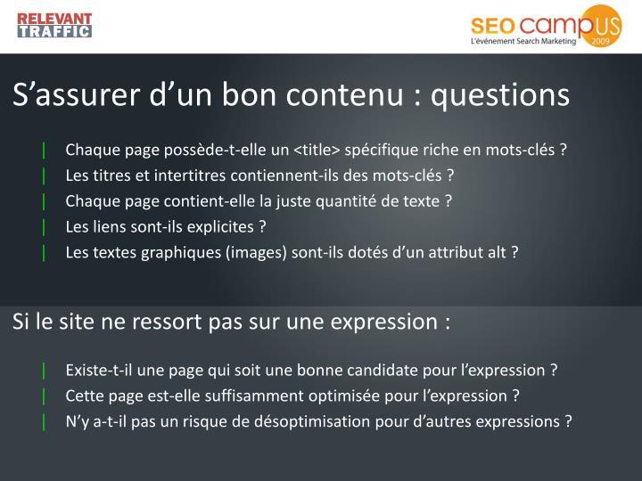 S'assurer d'un bon contenu : questions