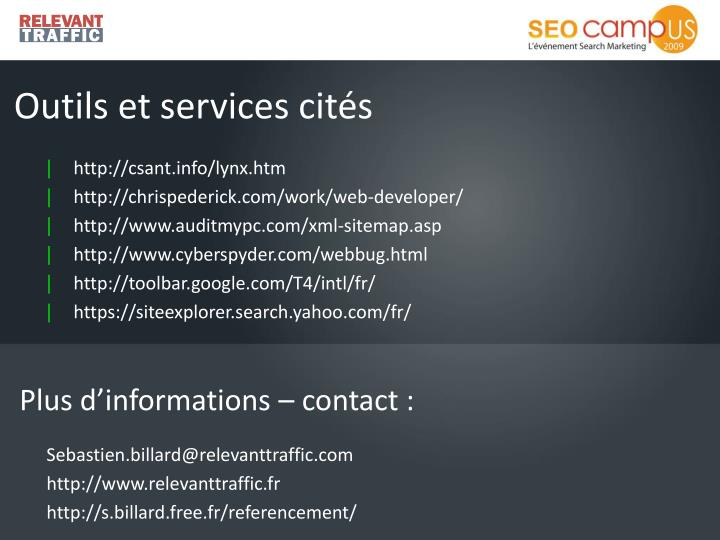 Outils et services cités