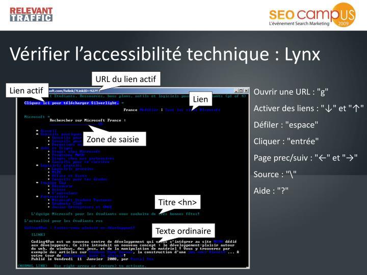 Vérifier l'accessibilité technique : Lynx