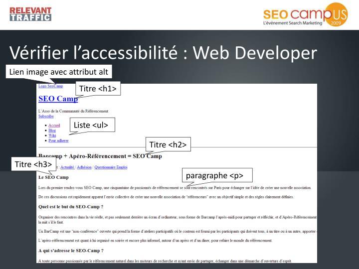 Vérifier l'accessibilité : Web