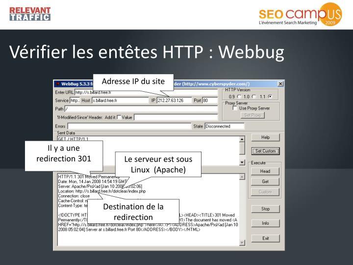 Vérifier les entêtes HTTP :